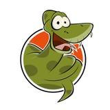 Serpiente divertida de la historieta en una insignia Imagen de archivo libre de regalías