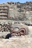 Serpiente Emplumada feathered serpent. Feathered Serpent Head in Templo Mayor, Tenochtitlán, Mexico City Stock Photos