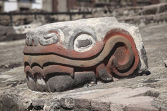 Serpiente Emplumada feathered serpent. Feathered Serpent Head in Templo Mayor, Tenochtitlán, Mexico City Royalty Free Stock Image