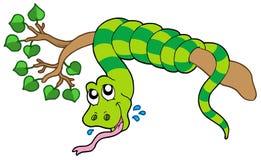 Serpiente en la ramificación frondosa ilustración del vector