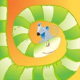 Serpiente hambrienta y ratón triste Imagenes de archivo