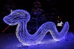 Serpiente ligera. Decoración del Año Nuevo Fotografía de archivo libre de regalías