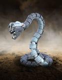 Serpiente mecánica del robot del metal, desierto