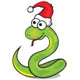 Serpiente verde agradable con el casquillo rojo stock de ilustración