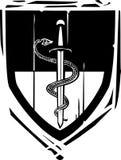 Serpiente y espada heráldicas del escudo Imagen de archivo