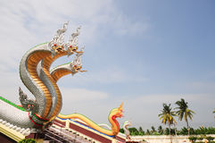 Serpientes grandes delante del templo tailandés Imagen de archivo libre de regalías