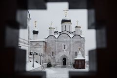 Cathedral of the Presentation of the Blessed Virgin in the Temple in Vladychny Monastery Vvedensky Cathedral Stock Photos