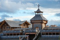 Wooden fortress on Drakino Island. SERPUKHOV, MOSCOW REGION, RUSSIA - 7 OCTOBER, 2017: Wooden fortress on Drakino Island, Serpukhov district, Russia. Autumn Royalty Free Stock Photography