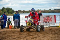 Abramov Dmitriy 51. SERPUKHOV, RUSSIA - OCTOBER 7, 2017: Abramov Dmitriy 51,  Class ATV, in the 4 stage  MX series, the Red Wings Cup 2017 super country-cross Stock Photo