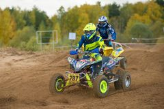 Elagin Yan 737. SERPUKHOV, RUSSIA - OCTOBER 7, 2017: Elagin Yan 737,  Class ATV, in the 4 stage  MX series, the Red Wings Cup 2017 super country-cross, Moto Stock Image