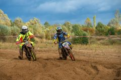 Komarov Andrey 747. SERPUKHOV, RUSSIA - OCTOBER 7, 2017: Komarov Andrey 747,  Class Pit bike, in the 4 stage  MX series, the Red Wings Cup 2017 super country Royalty Free Stock Image