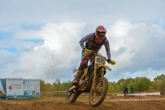 Maxim Komlev 421. SERPUKHOV, RUSSIA - OCTOBER 7, 2017: Maxim Komlev 421,  Class MX - absolute cross-country, in the 4 stage  MX series, the Red Wings Cup 2017 Stock Photos