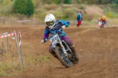 Reutov Aleksandr 611. SERPUKHOV, RUSSIA - OCTOBER 7, 2017: Reutov Aleksandr 611, Class Juniors absolute, in the 4 stage MX series, the Red Wings Cup 2017 super royalty free stock images