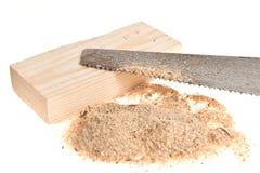 Serra com madeira Fotos de Stock