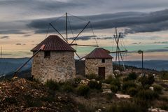 Serra da Atalhada windmills, Penacova, Portugal Stock Photo