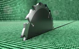 A serra de aço do círculo está destruindo dados Imagem de Stock