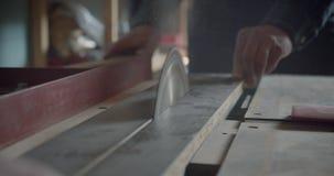 Serra de cabeça do tiro do close-up que corta as placas de madeira na fabricação vídeos de arquivo