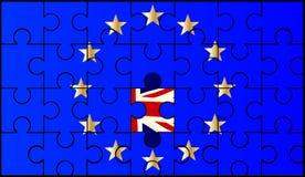 Serra de vaivém da bandeira da União Europeia com Union Jack ilustração royalty free