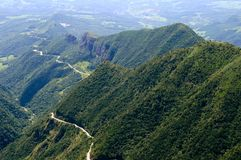 Curvy Highway in the Mountains of Brazil. The Serra do Rio do Rastro highway winds along lush green mountains in the state Santa Catarina, Brazil stock photos