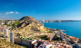 Serra Grossa o圣胡利安山看法在阿利坎特,西班牙 库存照片