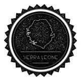 Serra Leone Map Label com o vintage retro denominado ilustração stock
