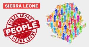 Serra Leone Map Population Demographics e selo sujo do selo ilustração royalty free