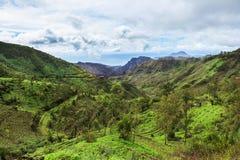 Serra Malagueta山在圣地亚哥海岛佛得角- Cabo v 免版税库存图片