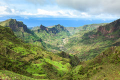 Serra Malagueta-bergen in Santiago Island Cape Verde - Cabo V Royalty-vrije Stock Foto's