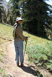 Serra mulher do caminhante Fotos de Stock Royalty Free