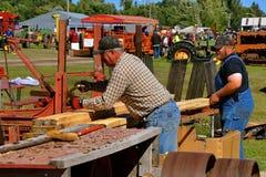 Serradores que cortam a madeira serrada dimensional imagem de stock royalty free