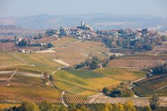 Serralunga Alba town with castle, country in autumn in Italy Royalty Free Stock Photography