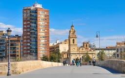 Serrano bridge in Valencia city, Spain Stock Photography
