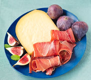 Serrano Ham with Cheese and Figs Royalty Free Stock Photo