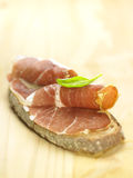 Serrano ham on a slice of bread Royalty Free Stock Photos