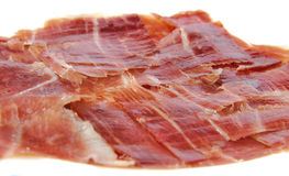 Serrano ham slices. Jabugo. Spanish tapa Royalty Free Stock Photo