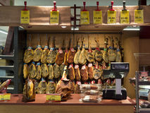 Serrano Ham - Supermarket - Spain Stock Image