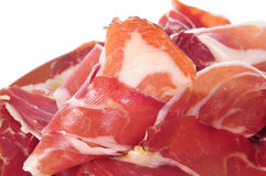 Serrano ham tapas. Closeup of a some spanish serrano ham tapas Royalty Free Stock Photo