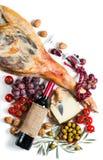 Serrano ham, wine and spanish tapas, top view Stock Photo