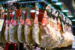 Serrano hamon and iberico hamon at spanish  market Stock Photography