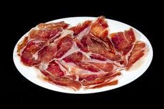 Serrano skinka, typisk och läcker spansk mat för skinka, Arkivfoto