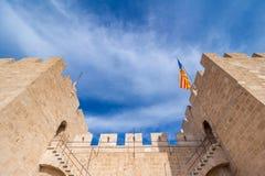 Serranos塔在巴伦西亚 免版税库存图片