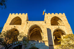 Serranos Gate, part of the ancient city wall in Valencia, Spain. Back facade of Torres de Serranos, part of the ancient city wall of Valencia, Spain Royalty Free Stock Photo