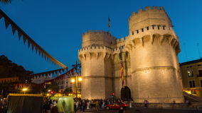 Serranos tower in Valencia at night stock video footage