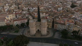 Serranos Towers and Valencia panorama, aerial view stock video