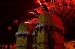 Serranos towers, Valencia. Torres de Serrano con la bandera de Valencia durante la Crida de las Fallas