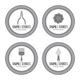 A serração etiqueta objetos Foto de Stock Royalty Free