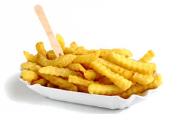 Serrated chips in a tray stock images