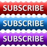 Serrated, gradient subscribe banner/button. Three color variations. Isolated on white Stock Images