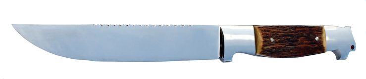 Serrated knife. A serrated knife with bone handle, isolated on white background Stock Image