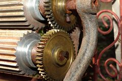 Serrated wheels on a manual wine making machine Royalty Free Stock Photography